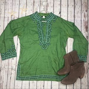 J. Crew Green Tunic with Embellishments